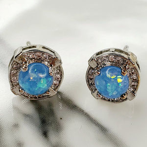 Round Blue Fire Opal Stud Earring with CZ Halo